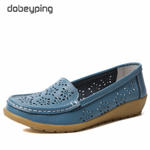 Fretwork Genuine Leather Women Shoes Cut-Outs Woman Loafers Hollow Womens Beach Flats Breathable Female Summer Shoe dobeyping