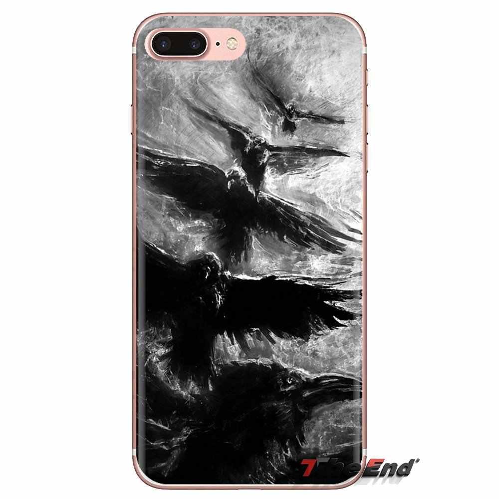 Voor LG Geest Motorola Moto X4 E4 E5 G5 G5S G6 Z Z2 Z3 G2 G3 C Play Plus Mini merel Raven Zwart en Wit Silicone Cover Bag