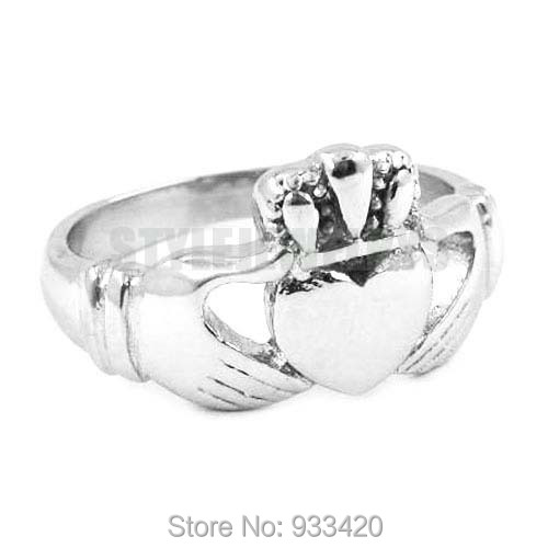 Free shipping Claddagh Style Hand to Hold a Heart with Crown Ring Stainless Steel Jewelry Biker Wedding Ring SWR0312B
