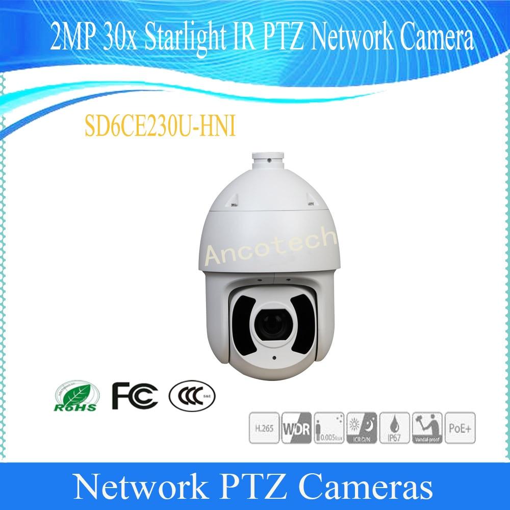 Dahua Original English CMOS Waterproof 2MP 30X Starlight IR PTZ Network Camera Without LOGO SD6CE230U-HNI Vandalproof Speed Dome ree shipping dahua 2mp 30x network ir