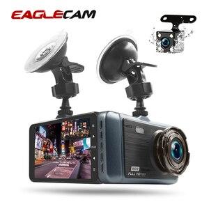 """Image 1 - Voiture Dash Cam 4 """"HD 1080P enregistreur de conduite 170 degrés grand Angle Vision nocturne voiture DVR véhicule double lentille caméra de tableau de bord g sensor"""