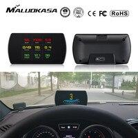 OBD2 Gauge Car HUD Head-Up Display Smart Digital Meter HD Digital Display GPS Speedometer Fuel Consumption Temperature RPM