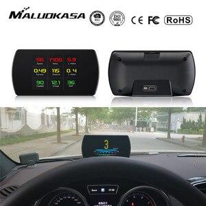 Image 1 - OBD2 Gauge Car HUD Head Up Display Smart Digital Meter HD Digital Display GPS Speedometer Fuel Consumption Temperature RPM
