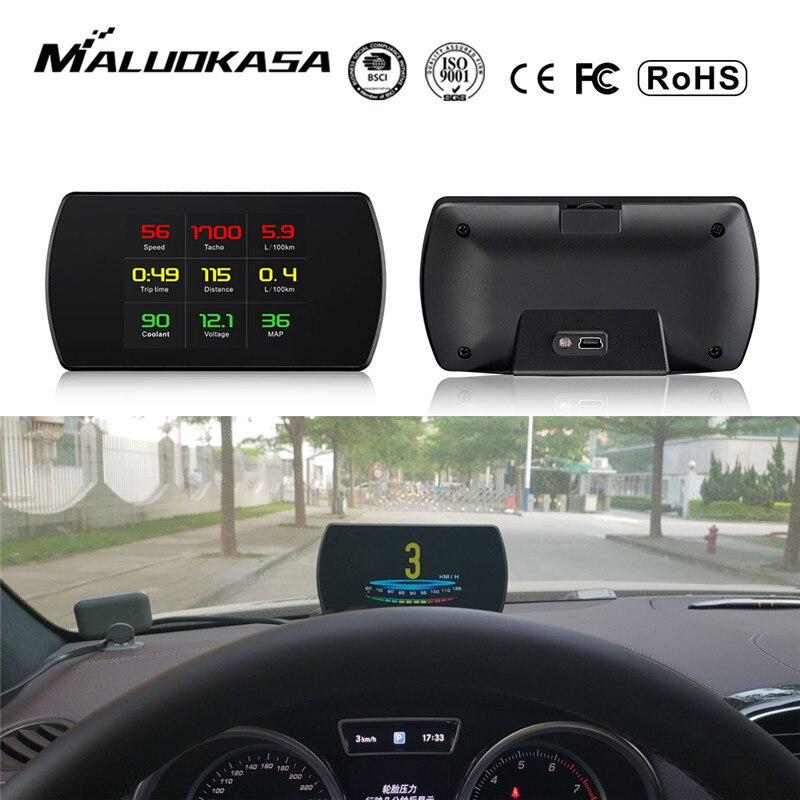 OBD2 Voiture HUD Head-Up Display Smart Compteur Numérique HD Affichage Numérique Compteur De Vitesse de Consommation de Carburant Température RPM