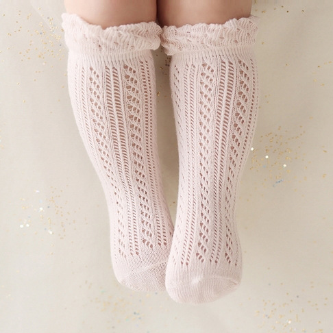 baby stockings spring thin cotton mesh tube baby cotton princess Tricholoma high socking