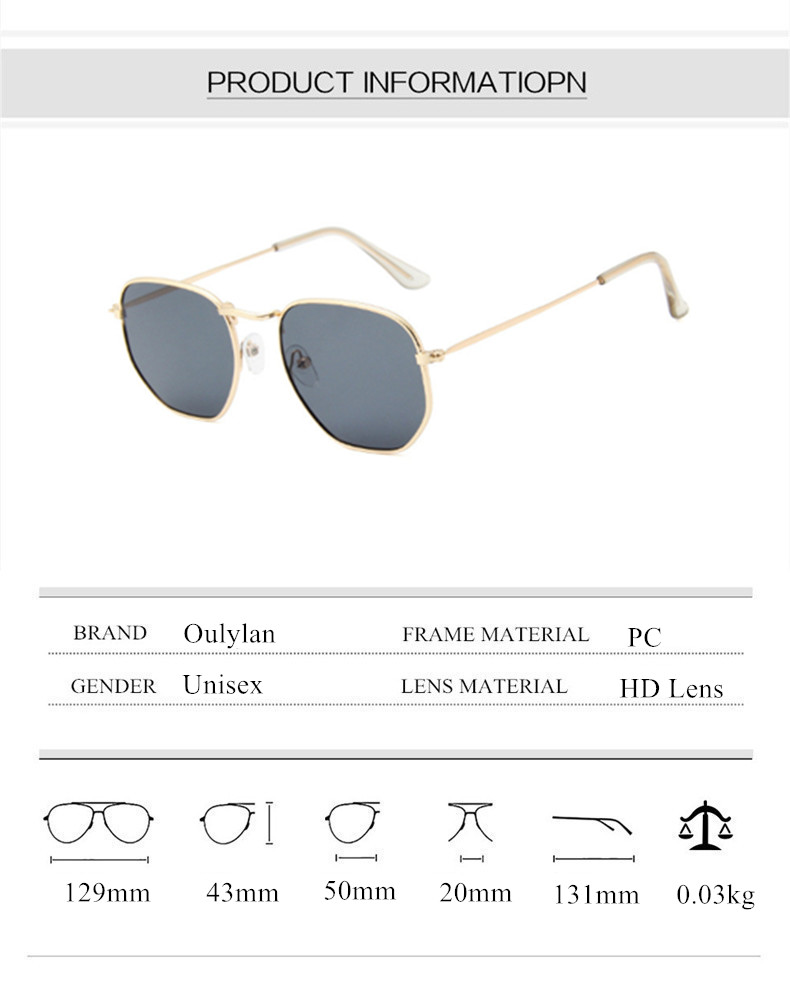 Oulylan Vintage Polygon Sunglasses Women Men Brand Metal Frame Sun Glasses Ladies UV400 Female Luxury Polygonal Sunglass Male