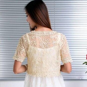 Women Basic Coat Embroidery Ribbon Bead Embellished Short Sleeve Cardigan See-Through Sheer Lace Mesh Bolero Top Jacket 4