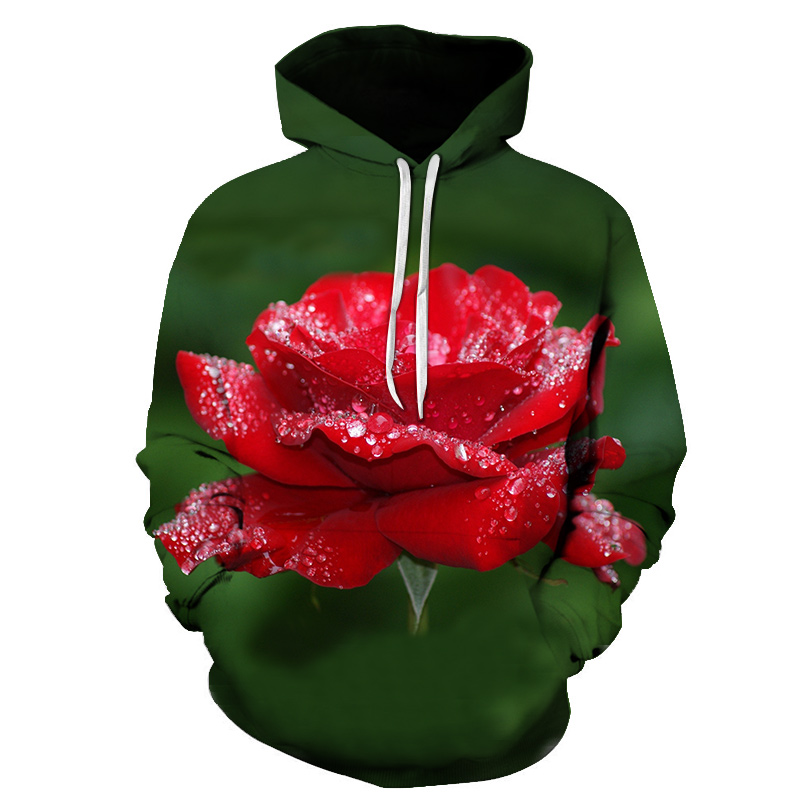 Idyllic Harajuku women's autumn and winter hoodies I am a rose with a hooded sweatshirt red shirt romantic  loose pullover S-6XL