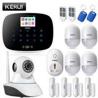 KERUI Русский Английский GSM сигнализация беспроводная сенсорная клавиатура домашний контроль безопасности с беспроводной ip камерой Wifi умная