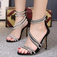 купить Fashion Women Ankle Strap Sandals Casual PU Buckle Strap Thin Heels 11.5CM Open Toed High Heels Women Sandals Discount Pumps по цене 676.06 рублей