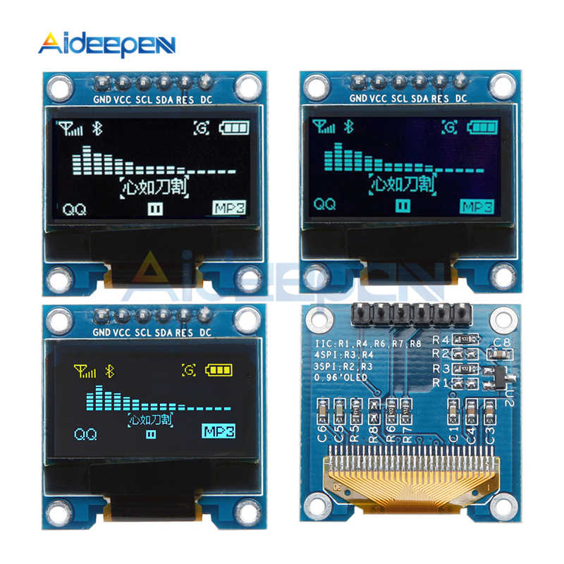 0.96 인치 6pin oled 디스플레이 모듈 128x64 ssd1306 드라이버 ic iic i2c spi 인터페이스 arduino raspberry pi 용 3.3-6 v 스크린 보드
