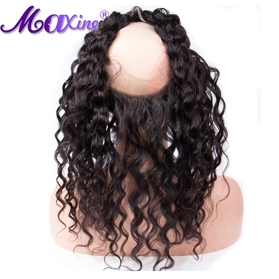 Pre Plucked 360 Lace Frontal Closure With Baby Hair Water Wave Color 1B Maxine 100% Remy Human Hair 10-20 Tangle And Shed Free