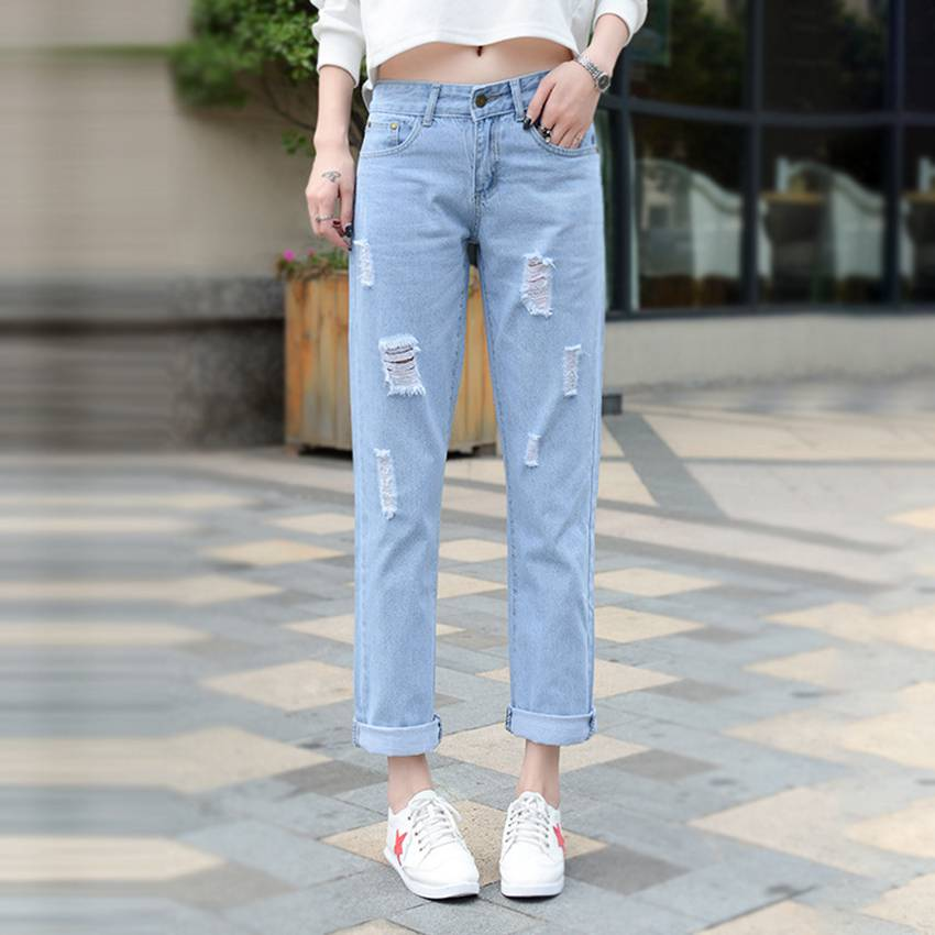 #2011 Cotton ripped jeans for women Fashion Ankle-length Straight Jeans feminino Slim jeans femme Womens jeans Distressed