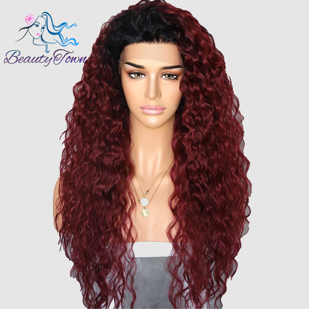 BeautyTown Kinky Curly Type Futura Heat Resistant Hair Black Ombre Wine Red Women Daily Makeup Synthetic