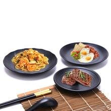Black Plastic Dishes Imitation Porcelain Japanese Melamine Tableware Western Steak Plate Covered Rice Fruit Salad