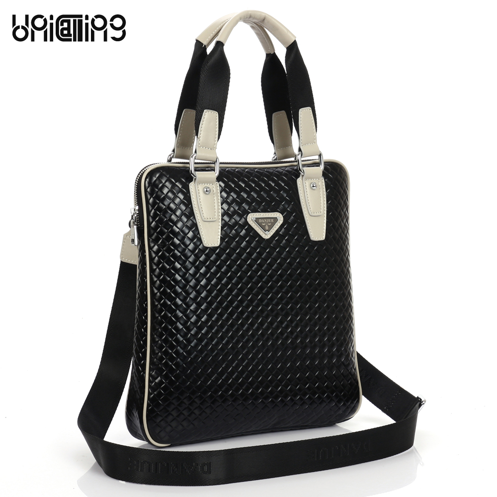 Men leather handbag vertical knitting pattern fashionable men leather shoulder bag men bag genuine leather