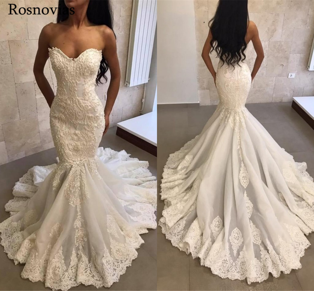 Mermaid Wedding Dresses 2019 Sweet Heart Zipper Back Sweep Train Lace Appliques Beaded Modern Beach Bridal Gowns Customized