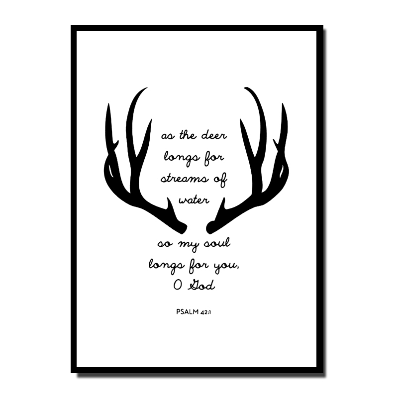 Black White Antlers Quote Art Print Poster, Wall Art Picture for ...