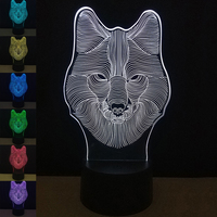 7 Color Wolf Table Lamp 3D Visual Led Night Lights Touch USB Table Lampara Lampe Baby