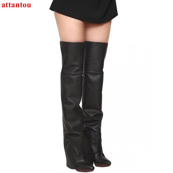 Black woman long boots 2017 autumn winter fashion elegant over-the-knee boots concise design pointed toe female motorcycle boot