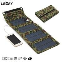LEORY 7 W Painéis Solares Carregador de Bateria USB Banco De Energia Solar Portátil Camping Kits de Viagem Dobrável Para O Telefone de Carregamento