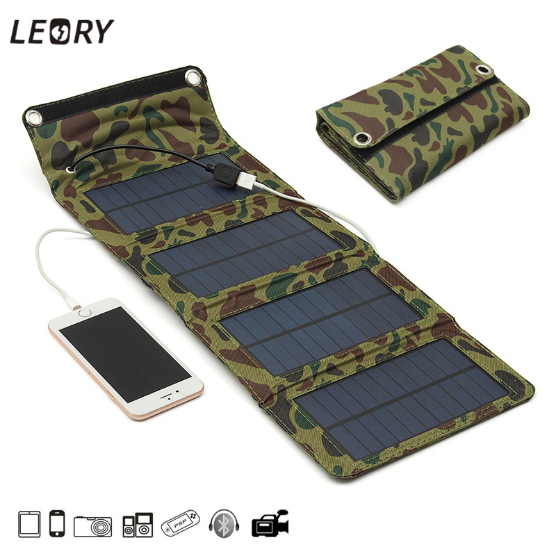 LEORY 7 W USB Solar Power Bank Portable Pannelli Solari Battery Charger Viaggi di Campeggio Pieghevole Per La Ricarica Del Telefono Kit