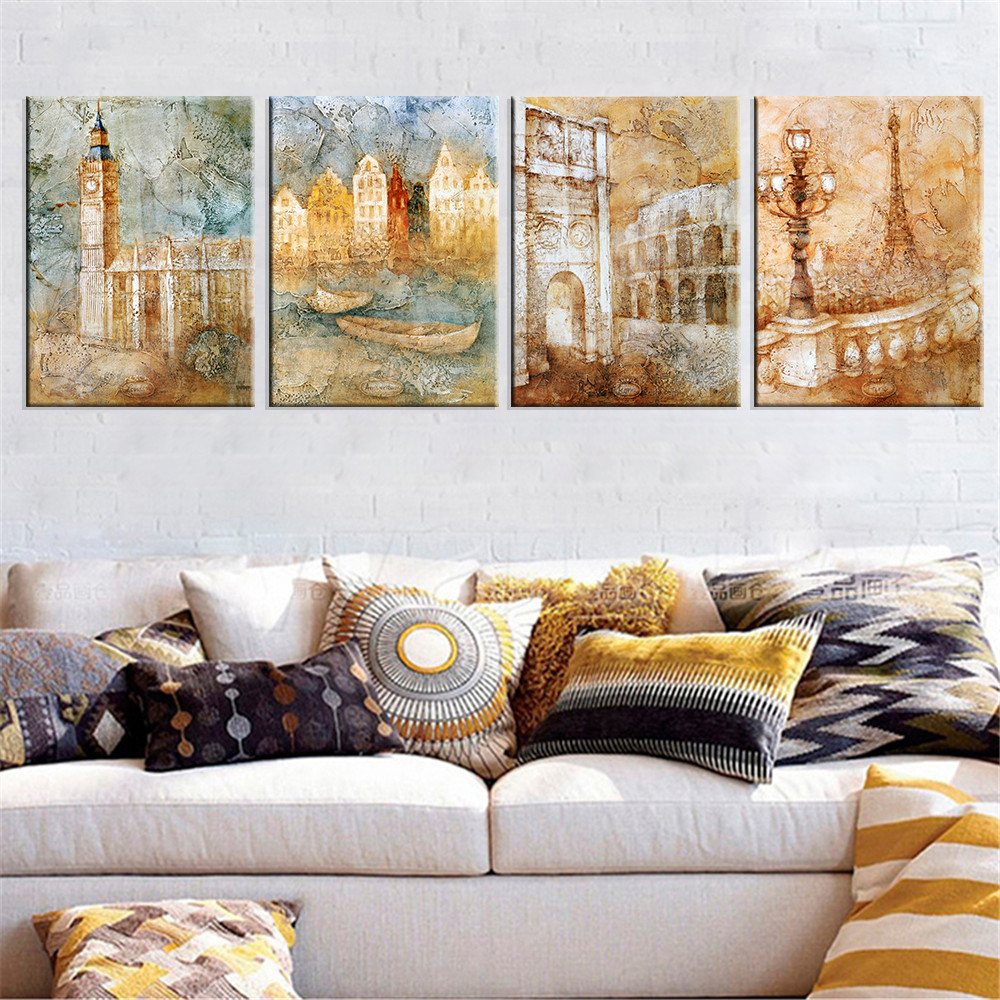 London City Landscape Canvas Art Wall Picture Cuadros Decoration Home Decor Gift Oil Painting for Living Room No Frame 4 Pieces