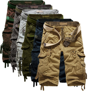 Summer Cargo Shorts Men Casual Workout Military Men's Shorts Multi-pocket Calf-length Short Pants Men ( Belt is not included ) Men's Bottoms