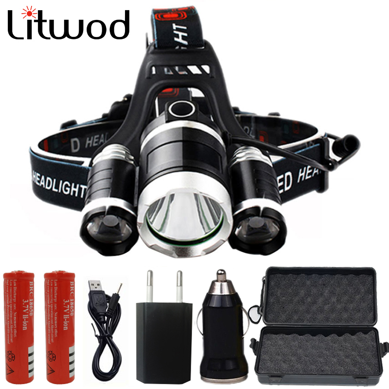 Z30 XM-T6 3 LED Headlight ZOOM Flashlight Torch Camping Fishing Headlamp Lantern +2* 18650 Battery +Car/AC/Charger+USB Cable