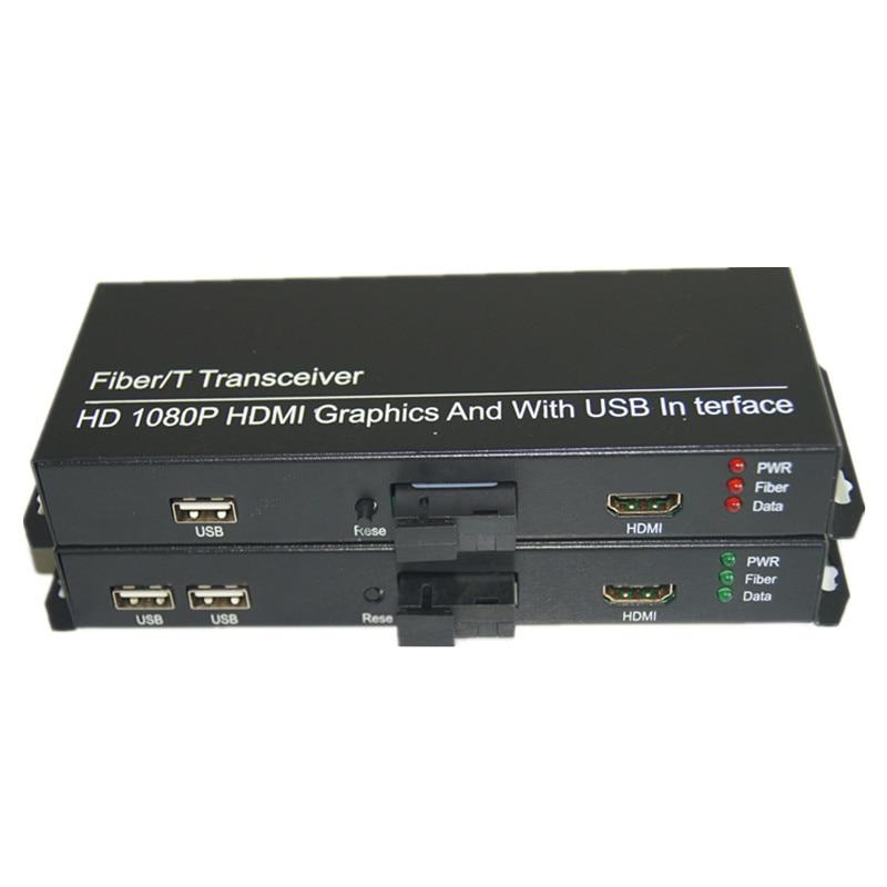 imágenes para Alta Calidad HD 1080 P HDMI Extender Convertidores de Medios Ópticos con 2 KVM USB2.0, señal HDMI sobre Fibra SC puerto, monomodo 20Km