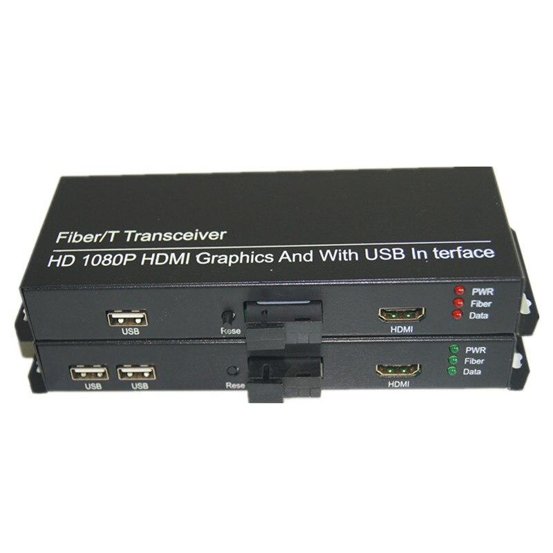 Alta calidad HD 1080 p HDMI Extender óptica media Convertidores con 2 KVM USB2.0, señal HDMI a Fibra Puerto SC, monomodo 20 km