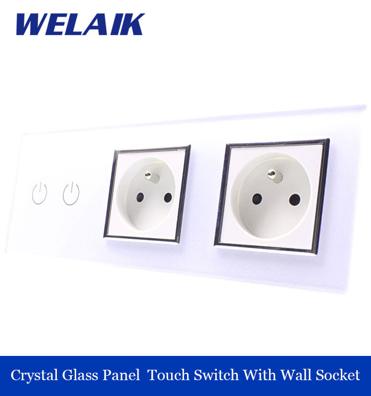 WELAIK 3 frame Crystal Glass Panel  White Black Wall Switch France Touch Switch  Wall socket 2gang1way AC110~250V A39218F8FW/B 1 way 3 gang crystal glass panel smart touch light wall switch remote controller white black ac 100 250v