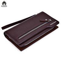 2018 Double Zipper Men Wallets With Phone Bag Vintage Pu Leather Clutch Wallet Male Purses Large
