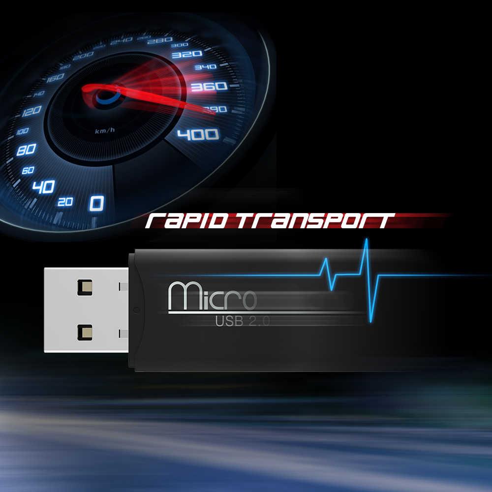 2 قطع المحمولة usb 2.0 عالية السرعة 480 300mbps البسيطة usb 2.0 مايكرو sd tf قارئ بطاقة الذاكرة محول