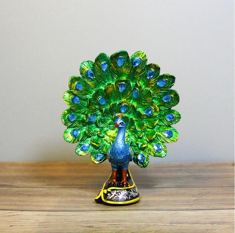 European Natural Resin Peacock Home Statues For Decoration Schleich Animal Statue Decoration Ornament Gift