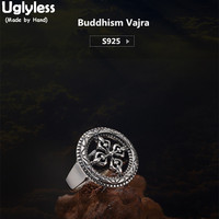 Uglyless S 925 Sterling Silver Unisex Finger Rings Men Women Vintage Thai Silver Ring Personalized Buddhist Vajra Cross Bijoux