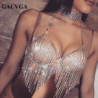 GACVGA 2017 Crystal Tassel Summer Women Crop Top Beach Swimsuit Shining Tank Top Backless Silver Gold