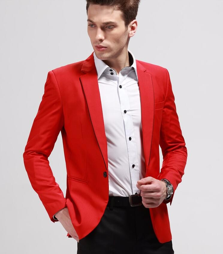 22.1 The fashion leisure suit jacket men red wedding the groom suit jacket lapels formally in the spring and autumn season