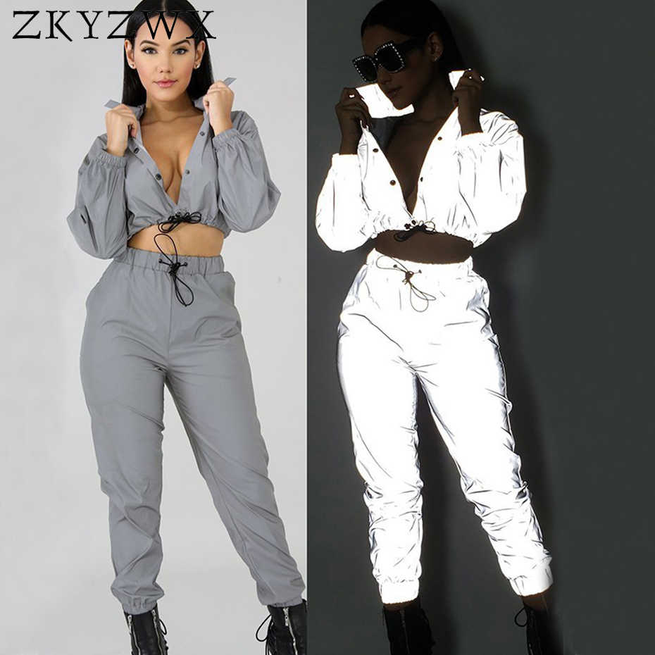 195574aa4bfd ZKYZWX 2 Piece Set Women Reflective Light Sexy Top and Pants Sweat Suits  Clothing Night Club