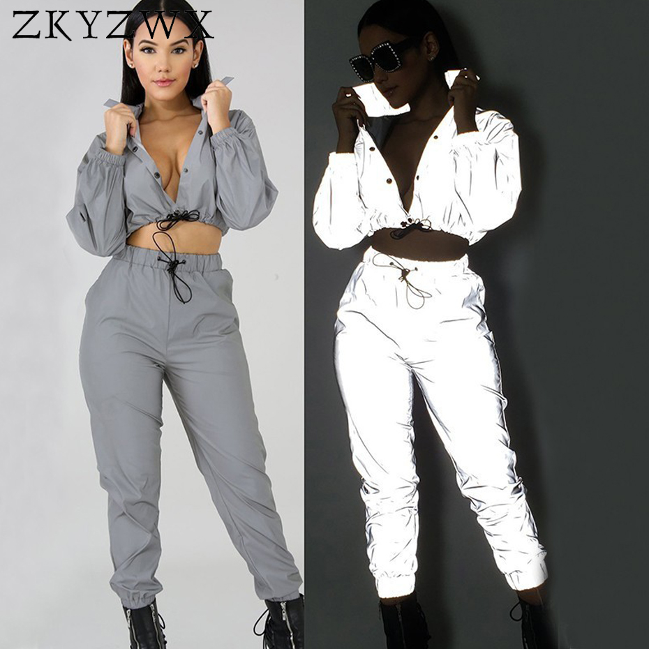 f6507dcc4077 ZKYZWX 2 Piece Set Women Reflective Light Sexy Top and Pants Sweat Suits  Clothing Night Club Outfits Twp Piece Matching Sets