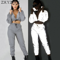 ZKYZWX 2 Piece Set Women Reflective Light Sexy Top and Pants Sweat Suits Clothing Night Club Outfits Twp Piece Matching Sets