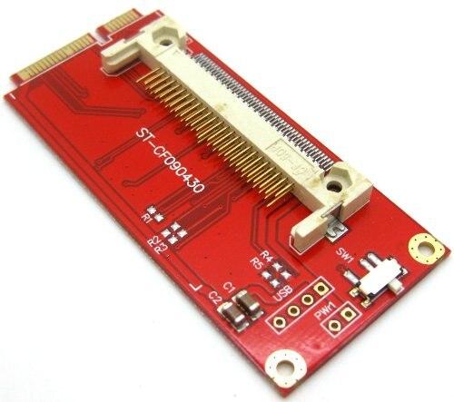 Free Shipping CF Memory Card to Mini PCI-E PCI Express Adapter Converter Left Side Mode 2pcs cf mini pci e mini pci e adapter mini pci express cf card to mini pci e express adapter as ssd for eeepc 901 900a