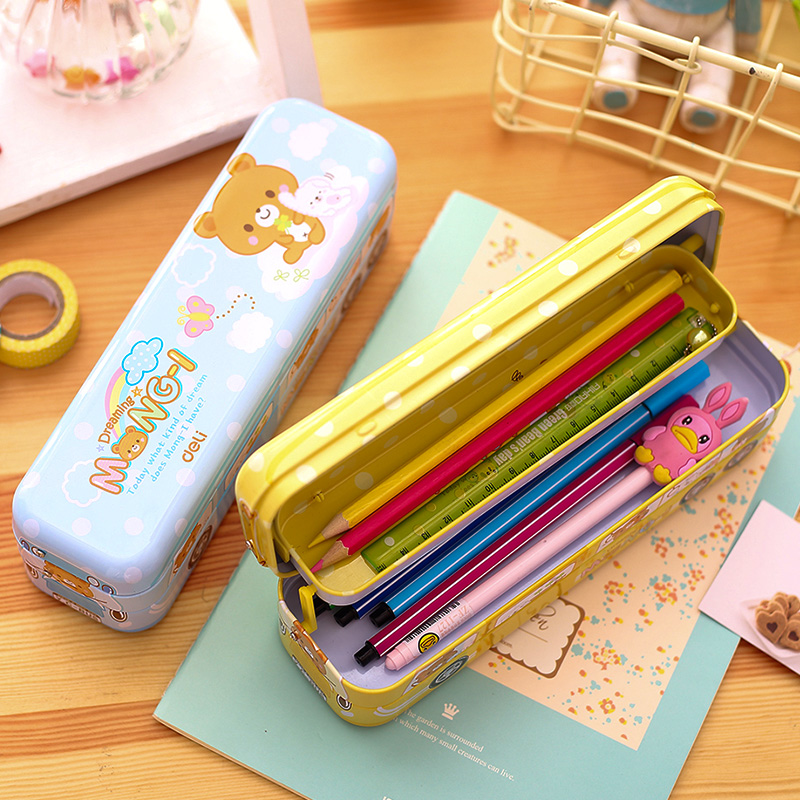 NNRTS Multi function children 39 s pencil case Three layers of cartoon pencil case Pupils 39 creative car shape iron pen boxes in Pencil Cases from Office amp School Supplies