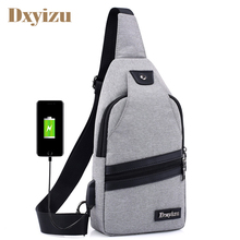 Men Usb Messenger Bags Nylon Crossbody Male Daily Crutch Single Strap Shoulder For Phone
