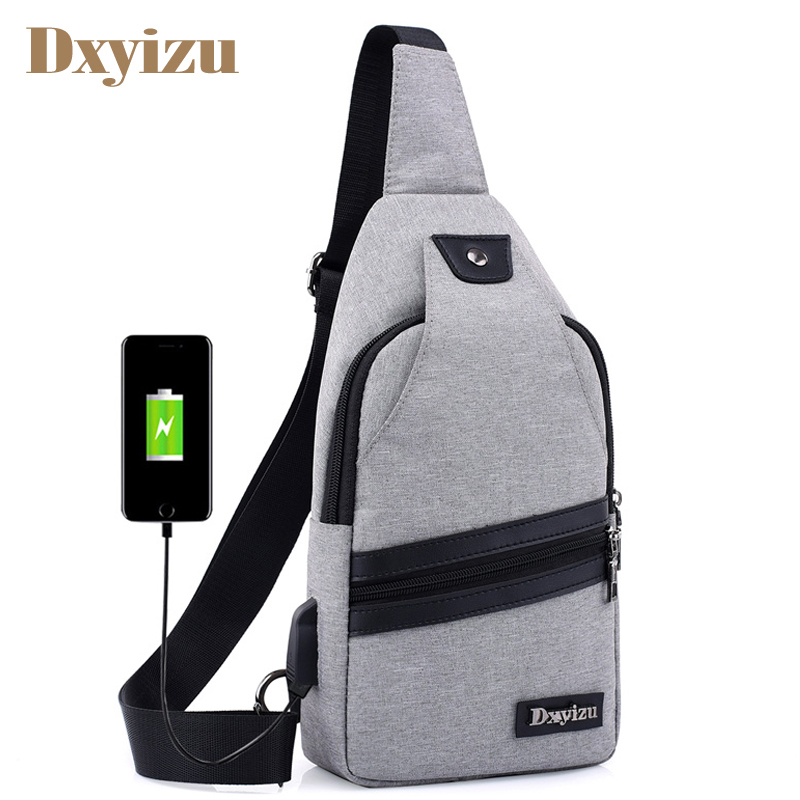 Men USB Messenger Bags Nylon Crossbody Bags Male Daily Crutch Single Strap Shoulder Bags For Phone Laptop Simple Chest Bag