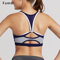 Vertvie Brand Women Sport Yoga Bra Top Sexy Hollow Strappy Yoga Bra Breathable Running Fitness Gym