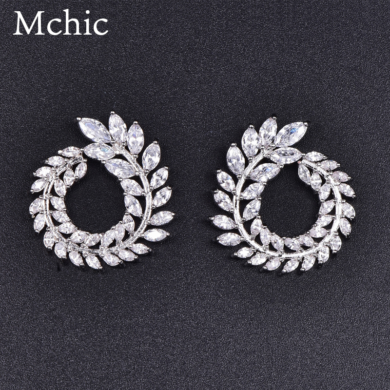 Mchic S925 Silver needle Luxury CZ Garland Olive Branch Cubic Zirconia Copper Stud Earrings Female Trendy Brand Earrings Brincos