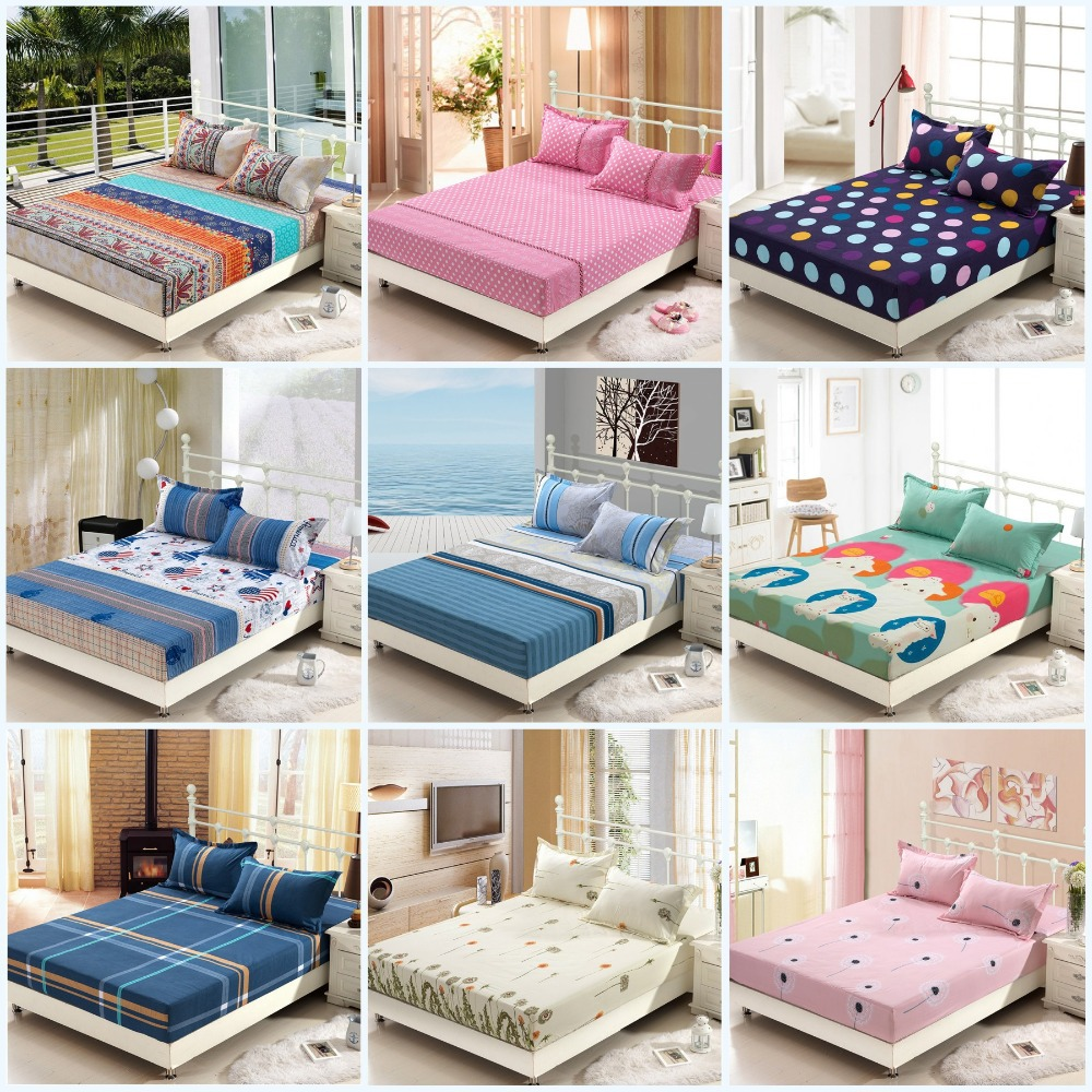 Colorful bed sheets - Aliexpress Com Buy Wholesale Printed Solid Color Fitted Bed Sheet Elastic Mattress Cover Protective Case Bedspread Single Full Queen King Size Free From