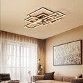 Lampe de plafond Led nouvelle lampe de chambre nordique simple lampe de salon cadre géométrique éclairage intérieur RC Dimmable suspension
