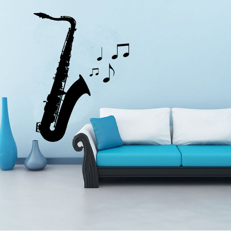 m 004 free shipping diy musical note saxophone home decor music wall sticker removable vinyl decal babys room wall decoration - Music Wall Decor